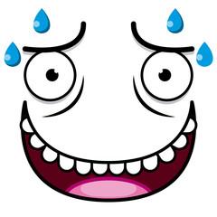 A Vector Cute Cartoon White Sweaty Face