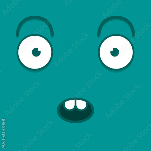 A Vector Cute Cartoon Blue Surprised Face