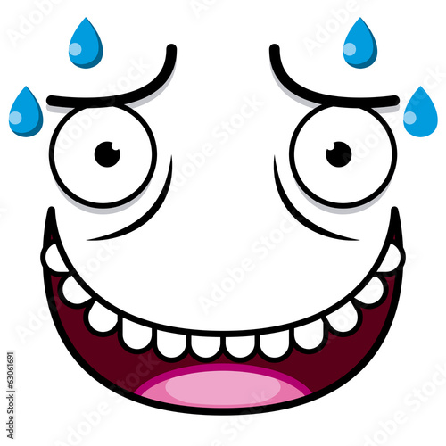 A Vector Cute Cartoon White Sweaty Face