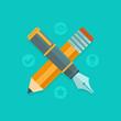 Vector graphic design concept - pen and pencil