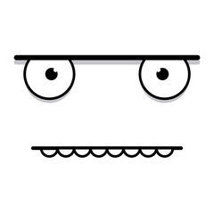 A Vector Cute Cartoon White Grumpy Face