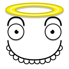 A Vector Cute Cartoon White Angel Face