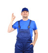 Man in blue overalls