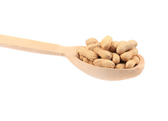wooden spoon with peanuts