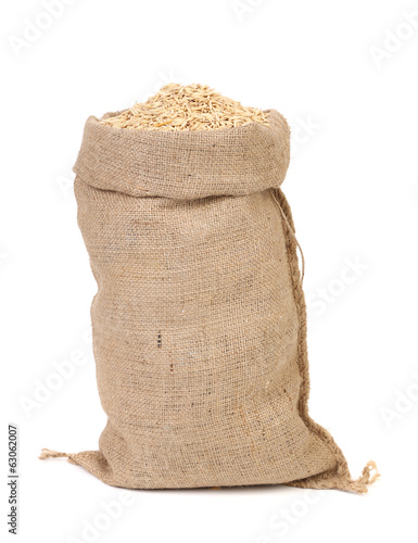 oat seed grain in burlap sack bag