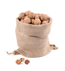 Walnuts in burlap bag