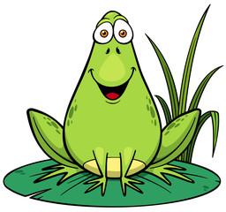 Vector illustration of Cartoon green frog