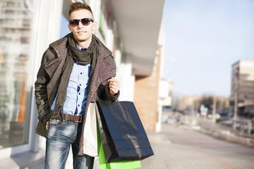 Man shopping - Stock Image