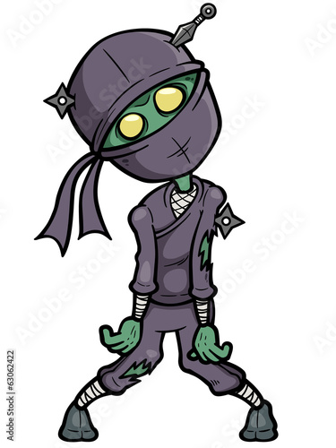 Vector illustration of Cartoon Ninja zombie