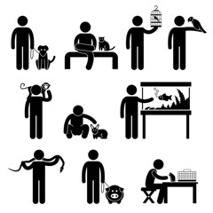 Man and Pets Pictogram