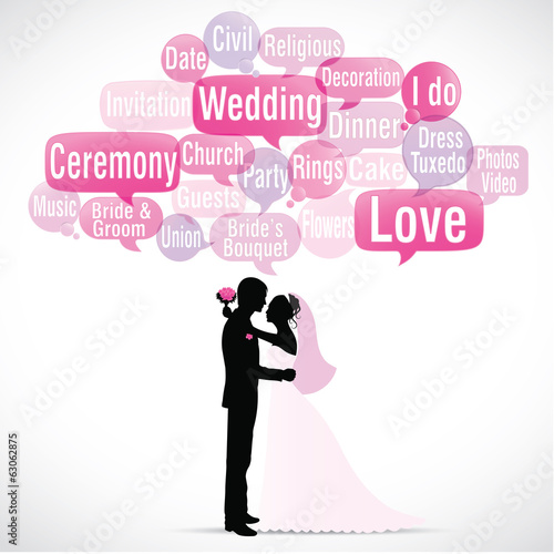word cloud : wedding (with silhouette)  (cs5)