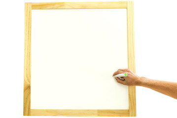 Man writing in a square wooden frame
