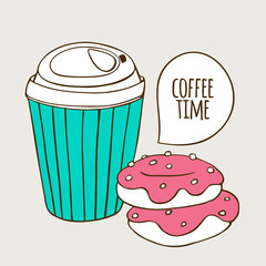 Paper cup of coffee and donuts. Cute doodle illustration