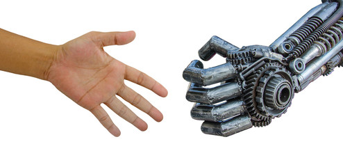 man hand  handshake with cy-ber robot isolated on white backgrou