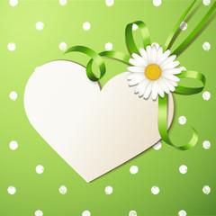 Herzkarte mit Margeritenschleife - Grün, Polka Dots