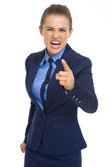 Angry business woman threatening with finger