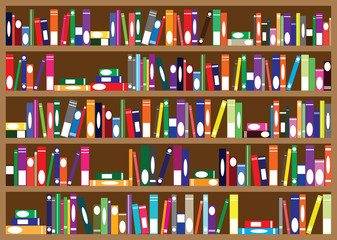 Series of books arranged on shelves