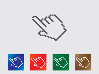Pixel finger point icons illustration