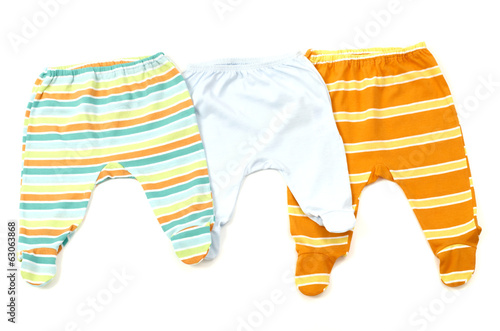 Close up of a baby pants isolated, striped infant pants