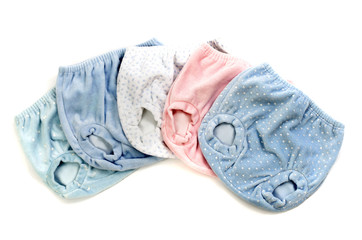 Close up with five baby panties, infant underwear