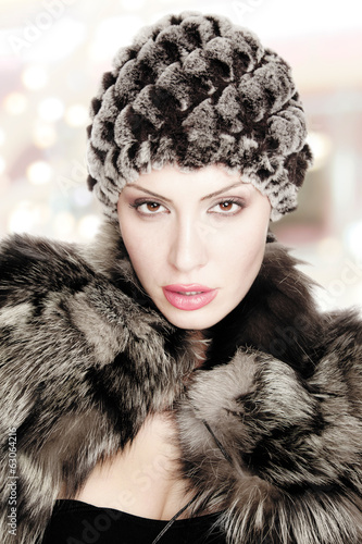 woman beautiful fur