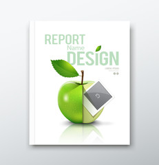 Cover Annual report, green apple and instant photo
