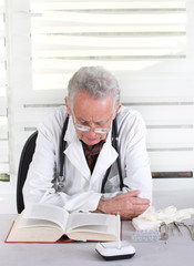 Senior doctor researching