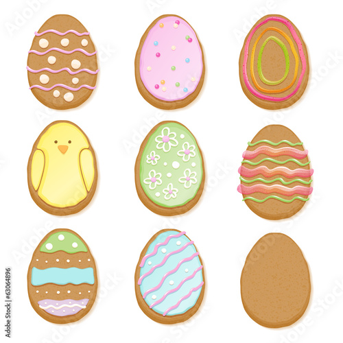 Set of decorated easter cookies of egg form.