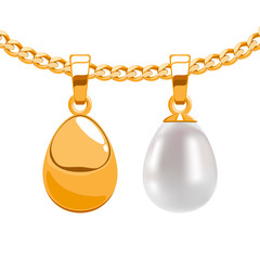 Set of egg form pendants on golden chain isolated on white back.