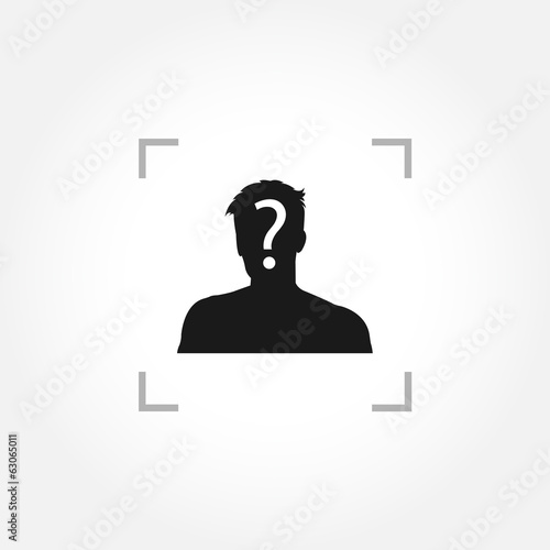 Man icon with question mark inside camera focus frame