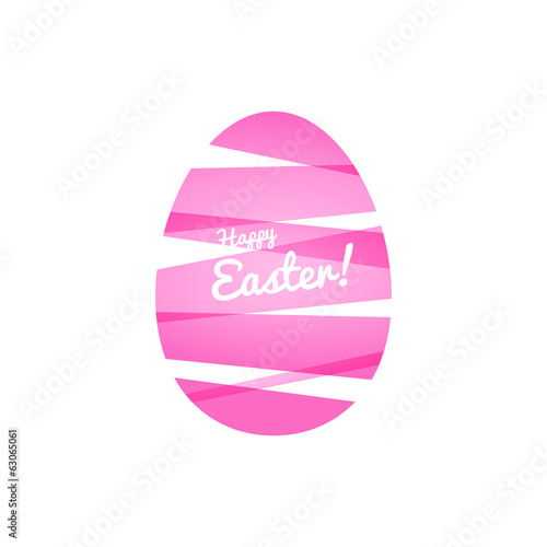Pink Easter egg, wrapped in ribbons. Color blocks.