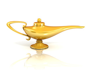 Aladdin magic lamp 3d illustration