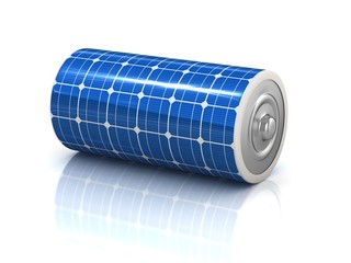 solar power 3d concept - solar panel battery