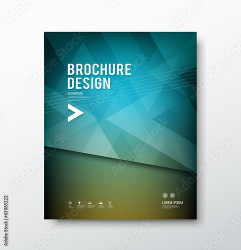 Cover brochure abstract triangle design blue background