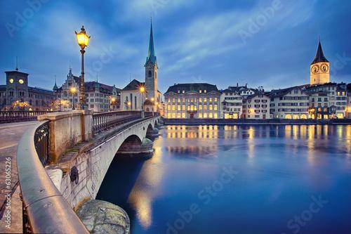 cityscape of night Zurich, Switzerland - 63065226