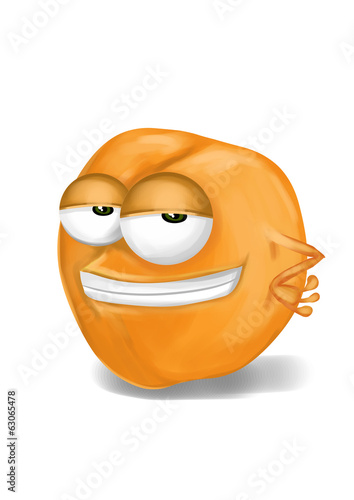 Cool, funny apricot cartoon character with a big smile