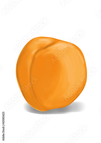 Simple, realistic yellow apricot illustration, front view.