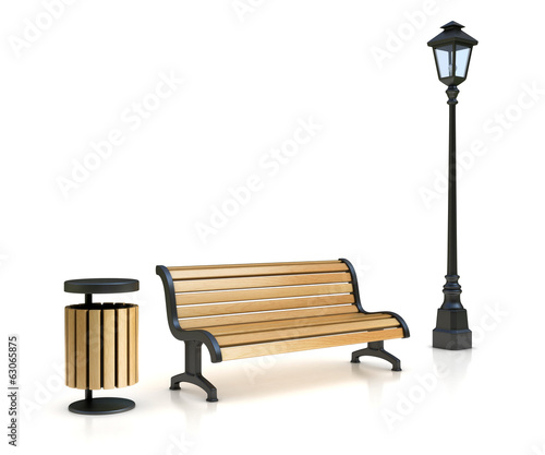 park bench street lamp and trash can