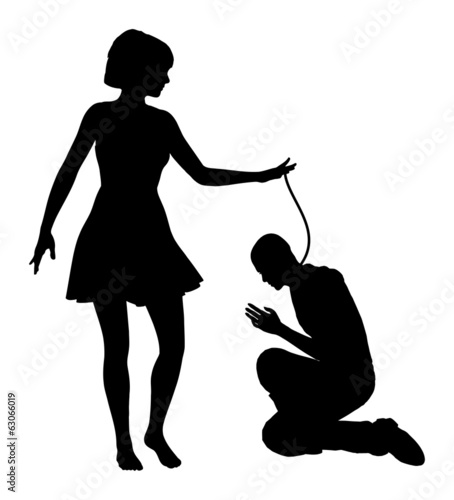 Humiliation. Woman treating man like slave
