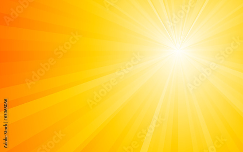 summer orange background with light Rays