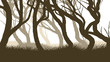 Horizontal illustration of pinewood forest.