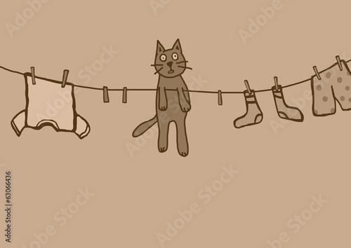 hanging kitty vintage