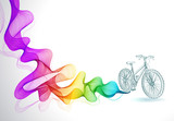 Abstract colorful background with wave and bicycle