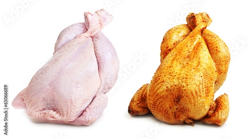 Whole chicken roast and fresh isolated on white background.