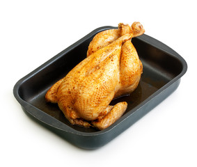 Roast chicken isolated on white background.