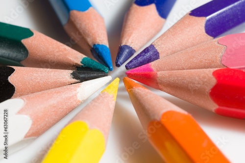 Extreme close-up of colorful pencil set