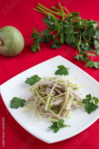 Beef salad and green radish