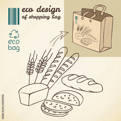 Line drawing of bakery products for shopping bag
