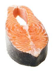 Fresh raw salmon isolated on white background