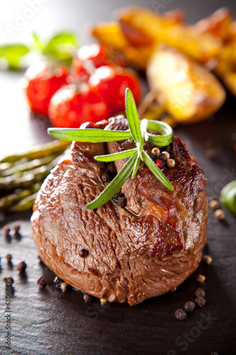 Fresh beef steak with grilled vegetable